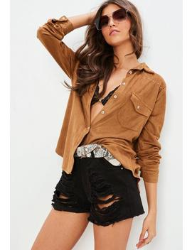Brown Faux Suede Western Shirt by Missguided