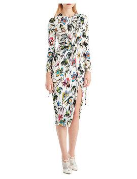 Drawstring Sleeve Floral Print Jersey Day Dress W/ Slit by Jason Wu
