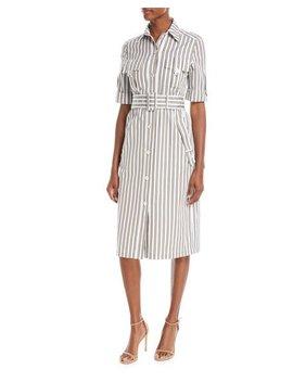 Button Front Short Sleeve Striped Utility Shirtdress by Derek Lam