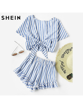 Shein Blue Plunging Bow Tie Short Sleeve Two Way Tank Top And Ruffle Shorts Set Women Summer 2017 Girl Backless Two Pieces Set by She In Official Store