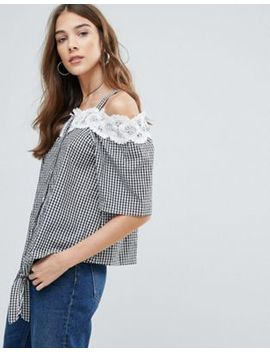 Qed London Cold Shoulder Lace Trim Gingham Tie Front Top by Top