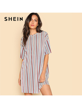 Shein Vertical Striped Short Velvet Dress Round Neck Short Sleeve Clothing Women Weekend Casual Dress 2018 Spring Loose Dress by She In Official Store