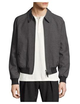 Zip Front Wool Bomber Jacket, Gray by Neiman Marcus