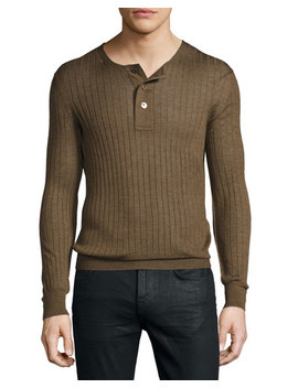 Lightweight Cashmere Silk Ribbed Henley Sweater, Rust by Neiman Marcus