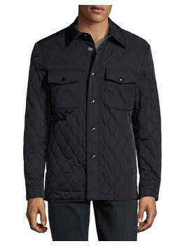 Quilted Shirt Jacket, Navy by Neiman Marcus