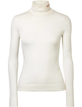 Embroidered Cotton Jersey Turtleneck Top by Calvin Klein 205 W39 Nyc