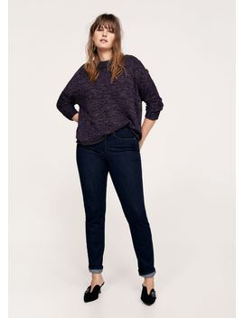 Buttoned Flecked Sweater by Mango