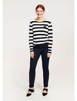Striped Appliqué Sweater by Mango