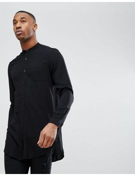 Asos Regular Fit Super Longline Viscose Shirt In Black by Asos