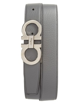 Faceted Double Gancio Reversible Leather Belt by Salvatore Ferragamo