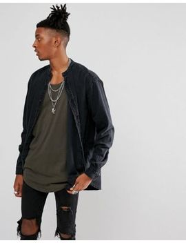 Asos Oversized Longline Denim Shirt With Raw Neckline by Asos