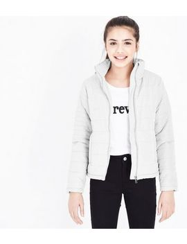 Teens Pale Grey Lightweight Puffer Jacket by New Look