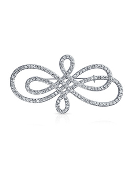 Bling Jewelry Classic Rhodium Plated Cz Swirl Pin Bridal Brooch by Bling Jewelry