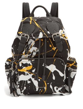 Paint Effect Leather Trimmed Backpack by Burberry