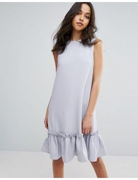 Lost Ink Shift Dress With Ruffle And Faux Pearl Hem by Lost Ink.