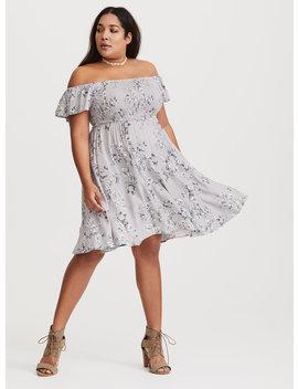 Grey Floral Smocked Challis Dress by Torrid