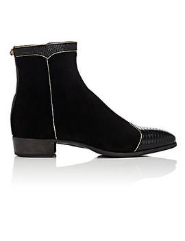 Suede Side Zip Boots by Gucci