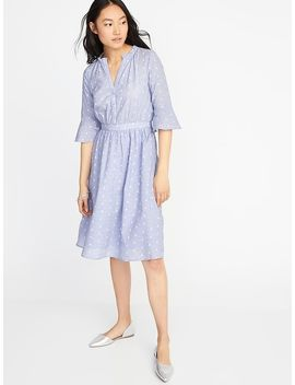 Fit &Amp; Flare Clip Dot Dress For Women by Old Navy