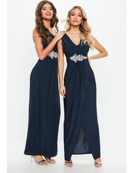 Bridesmaid Navy Plunge Diamante Trim Waist Maxi Dress by Missguided