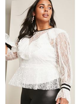 Plus Size Lace Accordion Pleat Top by Forever 21