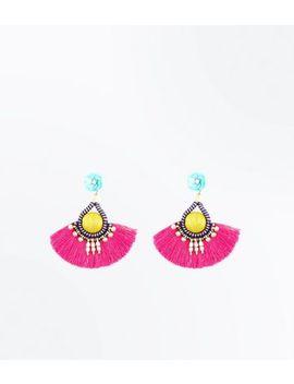 Multi Coloured Tassel Fan Earrings by New Look