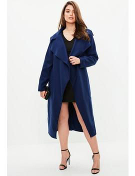 Curve Navy Tailored Waterfall Coat by Missguided