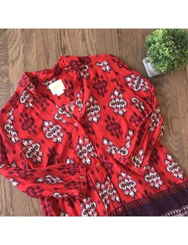 {Anthropologie<Wbr>} Maeve Red Long Sleeve Blouse Shirt Top Size 0 by Maeve