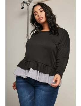 Plus Size Contrast Sweater by Forever 21