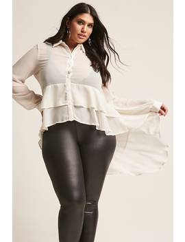 Plus Size Sheer High Low Top by Forever 21