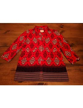 Women's Anthropologie Maeve Red Multicolor Abstract Button Front Top Size 0 Exc! by Anthropologie