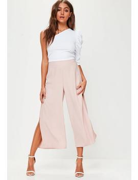 Pink Split Side Culottes by Missguided