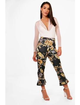 Molly Tonal Floral Ruffle Skinny Trousers by Boohoo