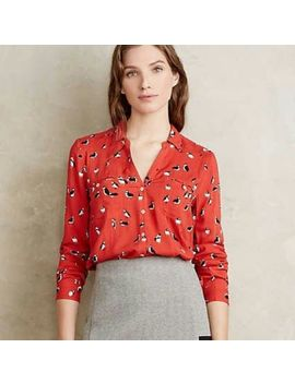 Rare Nwt Maeve Anthropologie Conversational<Wbr>Ist Button Down Shirt Size 0 P Petite by Anthropologie