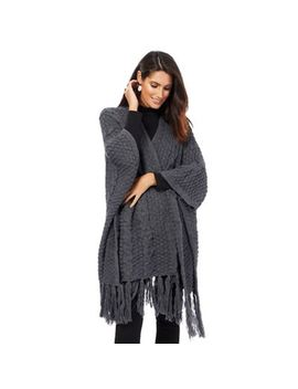 The Collection   Dark Grey Cable Knit Wrap by The Collection