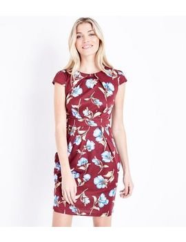 Red Floral Cap Sleeve Tulip Dress by New Look
