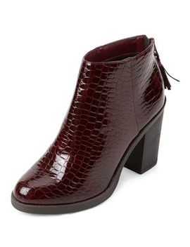Dark Red Patent Croc Textured Block Heel Ankle Boots by New Look