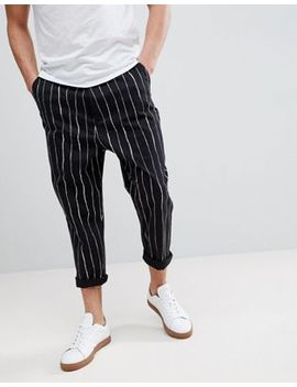 Asos Design Oversized Tapered Trousers In All Over Stripe Detail by Asos