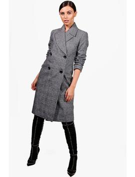 Petite Amy Collared Double Breasted Check Coat by Boohoo