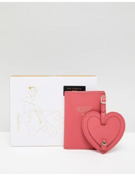 Paul Costelloe Real Leather Passport And Heart Shaped Luggage Tag Gift Set by Asos