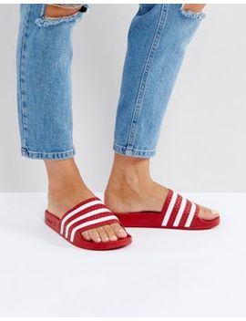 Adidas Originals – Adilette – Sandalen In Rot by Adidas