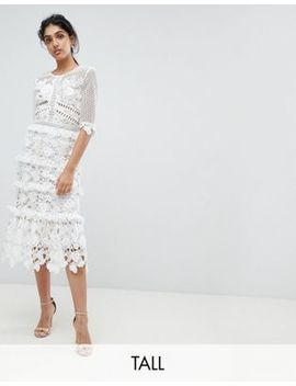 True Decadence Tall Premium All Over Cutwork Lace Contrast Midi Dress With Frill Sleeve Detail by True Decadence Tall