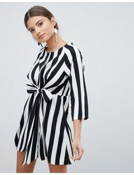 Pretty Little Thing Stripe Key Hole Tie Front Dress by Pretty Little Thing
