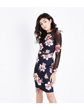 Black Floral Mesh And Scuba Bodycon Dress by New Look