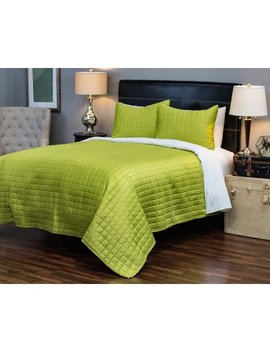"""Rizzy Home Satinology Green Bedding Set 90"""" X 92"""" by Rizzy Home"""