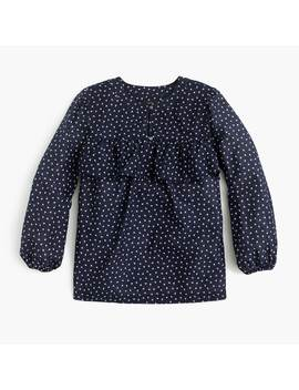 Long Sleeve Ruffle Top In Tiny Cherries by J.Crew