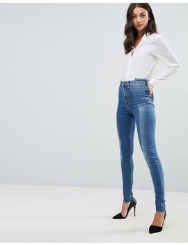 Asos Tall   Ridley   Jean Skinny Taille Haute Surpiqué Sur Le Devant Clair Délavé Noelle by Asos Tall
