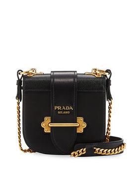 Mini Curved Leather Crossbody Bag by Prada