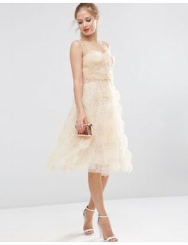Asos Salon 3 D Flower Organza Midi Prom Dress by Asos Salon