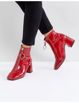 Asos Rosemary Patent Mid Heeled Boots by Asos Collection