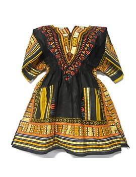 Decoraapparel Womens Dashiki Dress Mini Cotton Shirt Elastic Waist Traditional Wear Bright Colors by Decoraapparel